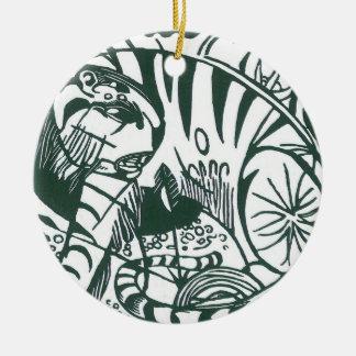 Tiger by Franz Marc, Black and White Fine Art Ceramic Ornament