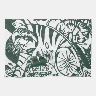 Tiger by Franz Marc, Black and White Fine Art Hand Towel