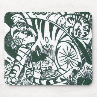 Tiger by Franz Marc, Black and White Fine Art Mouse Pad