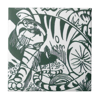 Tiger by Franz Marc, Black and White Fine Art Tile