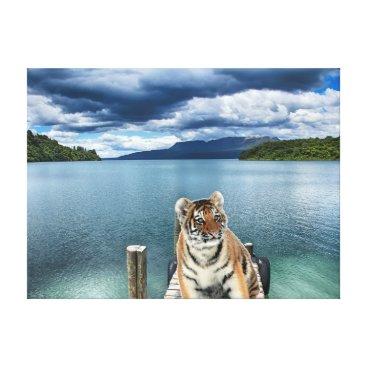 Beach Themed Tiger Canvas Print