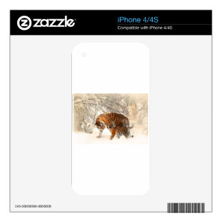 Tiger Cat Animal Print Personalize Anniversaries Skins For The iPhone 4S