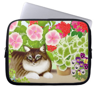 Tiger Cat in Balcony Garden Jungle Electronics Bag Laptop Sleeve