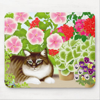 Tiger Cat in Garden Jungle Mousepad