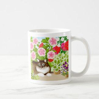 Tiger Cat in Garden Jungle Coffee Mugs