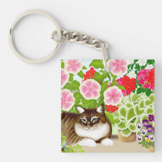 Tiger Cat in Patio Jungle Keychain