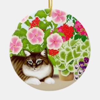 Tiger Cat in Patio Jungle Ornament
