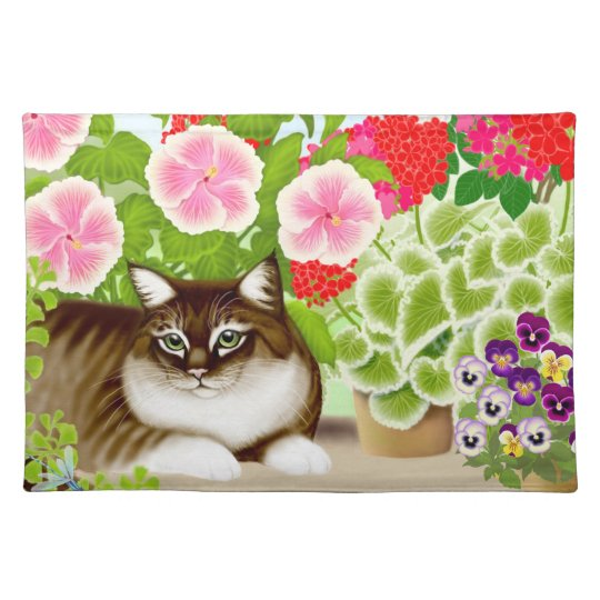Tiger Cat in Patio Jungle Placemat