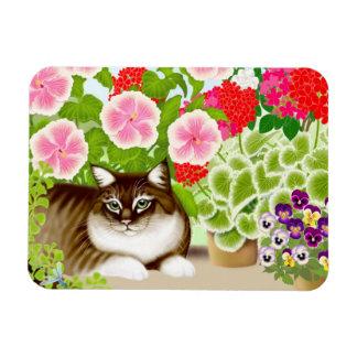 Tiger Cat in Patio Jungle Premium Magnet
