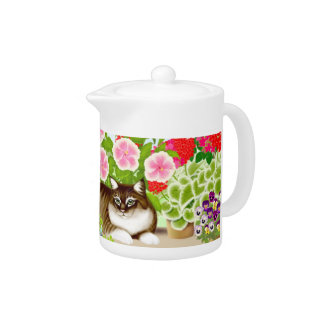 Tiger Cat in Patio Jungle Teapot