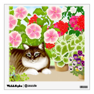 Tiger Cat in Patio Jungle Wall Decal