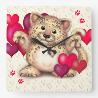 TIGER CAT LARGE SQUARE CLOCK LARGE