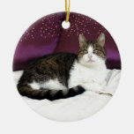 Tiger Cat Double-Sided Ceramic Round Christmas Ornament