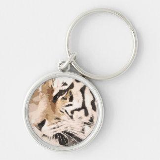 Tiger Cat print custom personalize Anniversaries Keychain