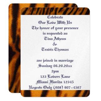 Tiger Cat Stripes Love Wedding Bride Groom Peace Card