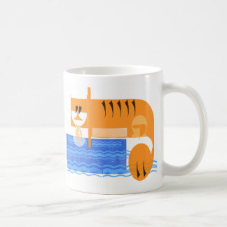 Tiger catching a fish coffee mug