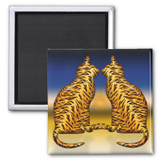 Tiger Cats 2 Inch Square Magnet