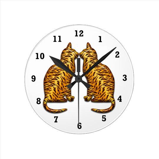 Tiger Cats Round Clock