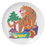 Tiger Chinese Paper-cut Art Work Party Plate