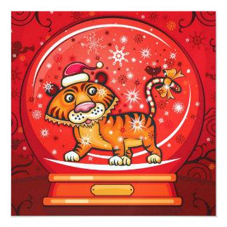 "Tiger Christmas Card - SRF 5.25"" Square Invitation Card"