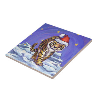 Tiger Christmas Ceramic Tile