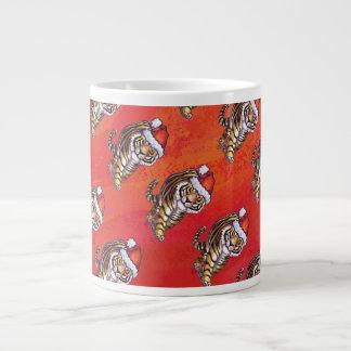 Tiger Christmas On Red 20 Oz Large Ceramic Coffee Mug
