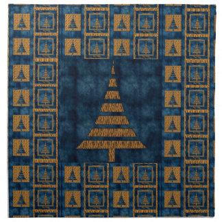 Tiger Christmas Trees and Blue Cloth Napkin