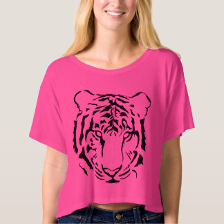 Tiger Close Up Face Bella Boxy Crop Top