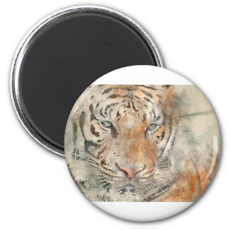 Tiger Close Up in Watercolor Magnet