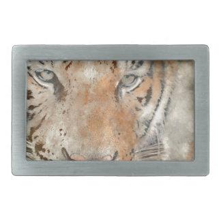 Tiger Close Up in Watercolor Rectangular Belt Buckle