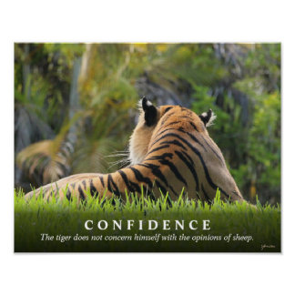 Tiger Confidence Quote Custom 14x11 Inspirational Poster