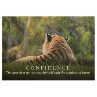 Tiger Confidence Quote Custom 29x19 Motivational Wood Poster
