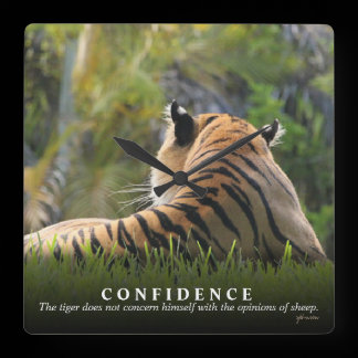 Tiger Confidence Quote Custom  Clock /