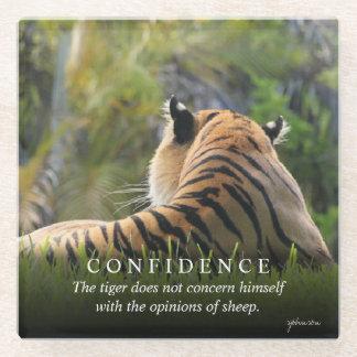 Tiger Confidence Quote Custom Glass Coaster
