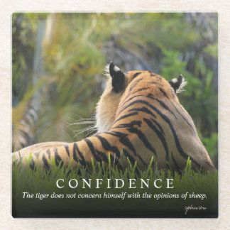 Tiger Confidence Quote Custom Glass Coaster