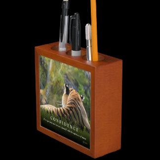 Tiger Confidence Quote Custom Pencil Cup / Desk Organizer