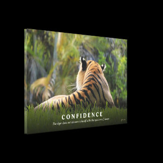 Tiger Confidence Quote CUSTOM SIZED Canvas Print