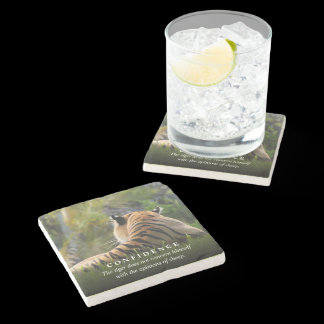 Tiger Confidence Quote Custom Stone Coaster