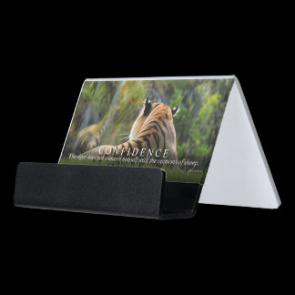Tiger Confidence Quote Customizable Desk Business Card Holder