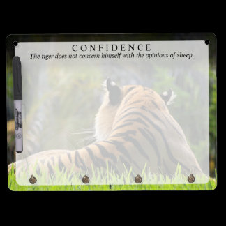 Tiger Confidence Quote Customizable Dry Erase Board With Keychain Holder