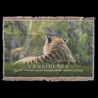 Tiger Confidence Quote Customizable Throw