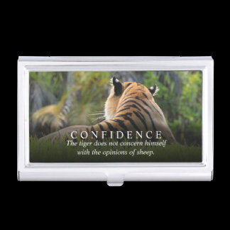 Tiger Confidence Quote Personalized Case For Business Cards