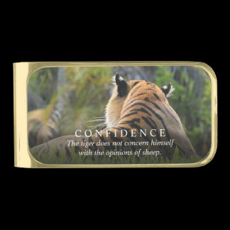 Tiger Confidence Quote Personalized Gold Finish Money Clip