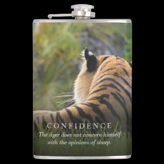 Tiger Confidence Quote Personalized Hip Flask