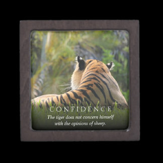 Tiger Confidence Quote Personalized Keepsake Box