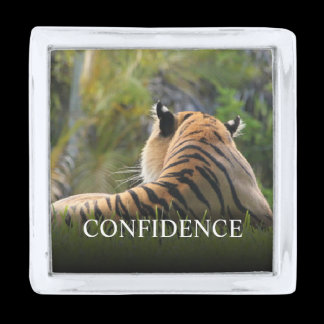 Tiger Confidence Quote Personalized Silver Finish Lapel Pin