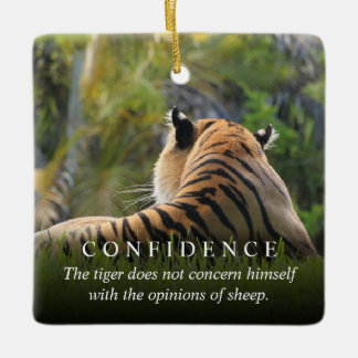Tiger Confidence Quote Rearview Mirror Hanger / Ceramic Ornament