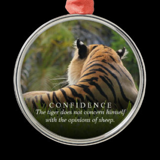 Tiger Confidence Quote Rearview Mirror Hanger / Metal Ornament