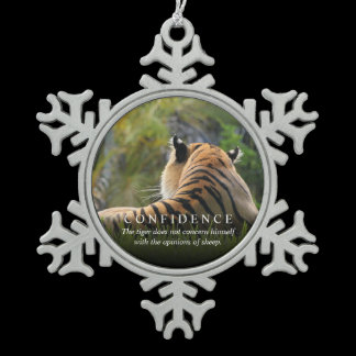Tiger Confidence Quote Rearview Mirror Hanger / Snowflake Pewter Christmas Ornament
