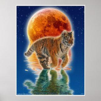 Tiger Cub & Eclipsing Moon Wildlife Conservation Poster